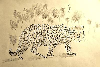Calligraphic Drawing - Tiger, Tiger by Nigel Radcliffe
