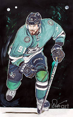 Nhl Hockey Drawing - Tyler Seguin by Dave Olsen