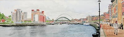 Painting - Tyne Bridges And Quayside by George Levitt