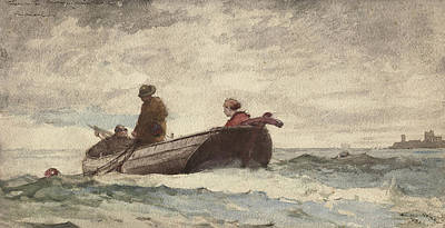 Cloudy Drawing - Tynemouth Priory by Winslow Homer