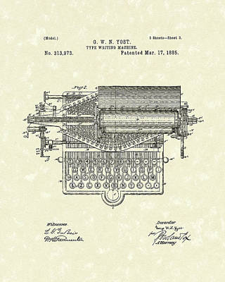 Antique Typewriter Drawing - Type Writer 1885 Patent Art by Prior Art Design