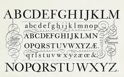 Typefaces From The Script Of George Shelley Art Print by George Shelley