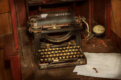 Number 5 Photograph - Typewriter - My Bosses Office by Mike Savad