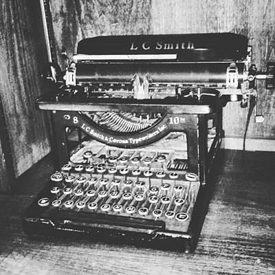 Typewriter Photograph - Antique Typewriter In Black And White by Images By Stephanie