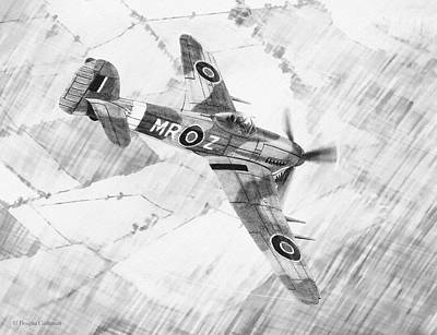 Drawing - Typhoon Mark 1b by Douglas Castleman