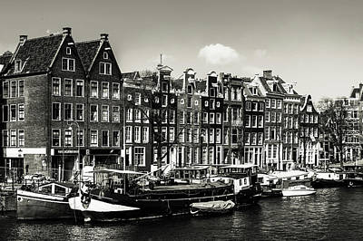Photograph - Typical Dutch Buildings In Amsterdam. Monochrome by Jenny Rainbow