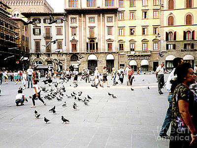 Photograph - Typical Italian City Square - People And Pigeons by Merton Allen