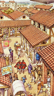 The Market Cart Painting - Typical London Street In Roman Times by Pat Nicolle