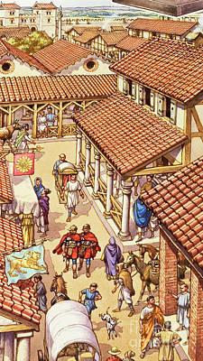 Typical London Street In Roman Times Art Print
