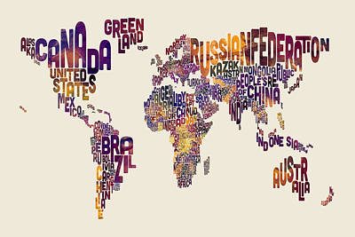 World Text Map Digital Art - Typography Text Map Of The World Map by Michael Tompsett
