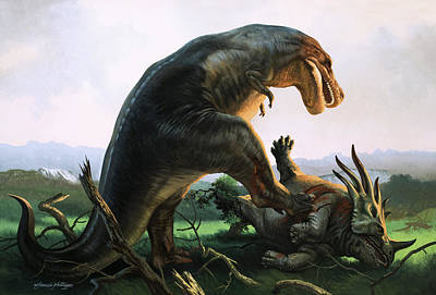 Wildlife Landscape Painting - Tyrannosaurus Rex Eating A Styracosaurus by William Francis Phillipps