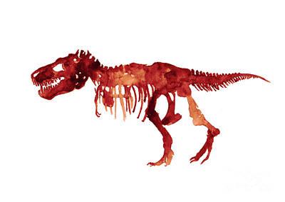 Tyrannosaurus Rex Skeleton Poster, T Rex Watercolor Painting, Red Orange Animal World Art Print Art Print