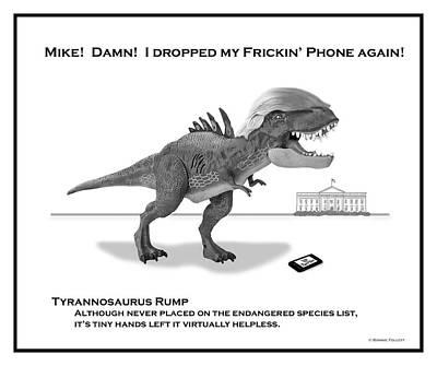 Digital Art - Tyrannosaurus Rump Bw by Bonnie Follett