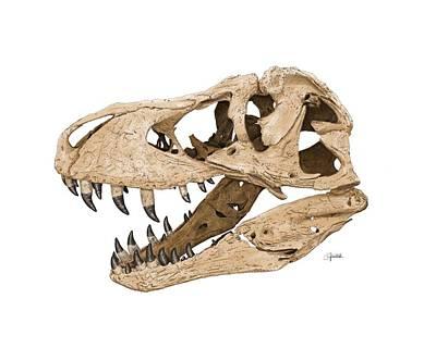 Digital Art - Tyrannosaurus Skull by Rick Adleman