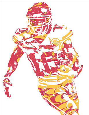 Kansas Mixed Media - Tyreek Hill Kansas City Chiefs Pixel Art 5 by Joe Hamilton