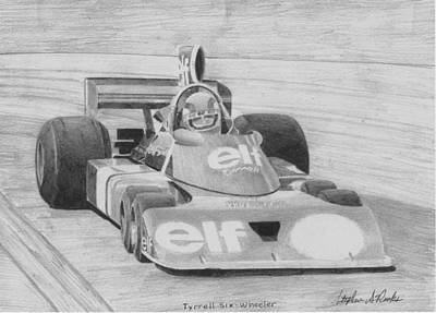 Formula One Drawing - Tyrell Ford P-34 Race Car Art Print by Stephen Rooks