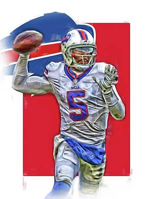 Team Mixed Media - Tyrod Taylor Buffalo Bills Oil Art 2 by Joe Hamilton