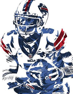 Football Mixed Media - Tyrod Taylor Buffalo Bills Pixel Art by Joe Hamilton