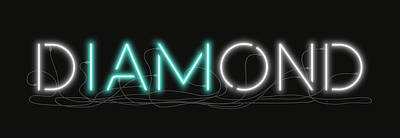 Digital Art - U Are Diamond - Neon Sign 1 by David Hargreaves