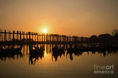 Burmese Python Photograph - U Bein Bridge At Sunset by Delphimages Photo Creations