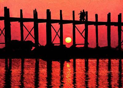 Digital Art - U Bein Bridge Sunset by Dennis Cox Photo Explorer