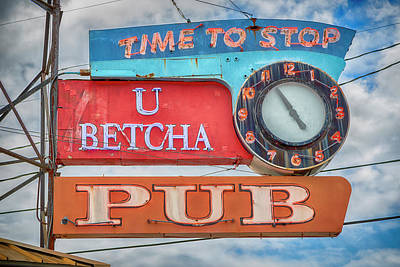 Stop Sign Photograph - U Betcha Pub by Stephen Stookey