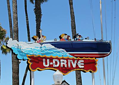 Wooden Boat Photograph - U-drive Boat Sign by Steve Natale