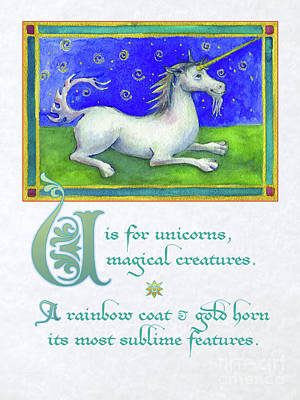 Digital Art - U Is For Unicorn by Lora Serra