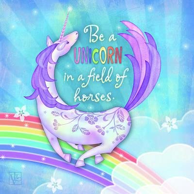 Digital Art - U Is For Unicorn by Valerie Drake Lesiak