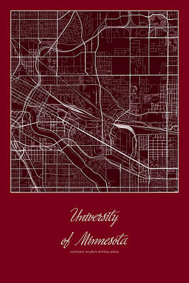University Of Minnesota Digital Art - U Of M Street Map - University Of Minnesota Minneapolis Map by Jurq Studio