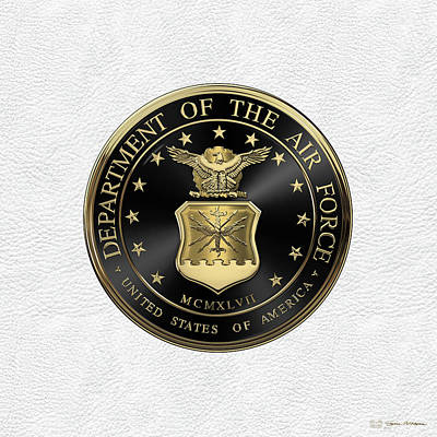 Digital Art - U. S.  Air Force  -  U S A F Emblem Black Edition Over White Leather by Serge Averbukh