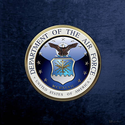 Digital Art - U. S.  Air Force  -  U S A F Emblem Over Blue Velvet by Serge Averbukh