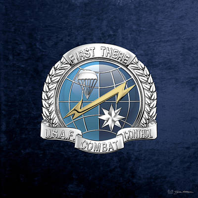 Digital Art - U. S.  Air Force Combat Control Teams - Combat Controller C C T Badge Over Blue Velvet by Serge Averbukh