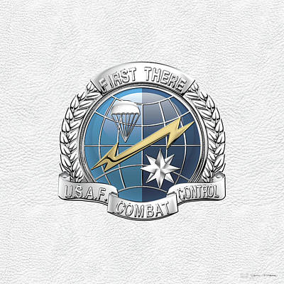 Digital Art - U. S.  Air Force Combat Control Teams - Combat Controller C C T Badge Over White Leather by Serge Averbukh
