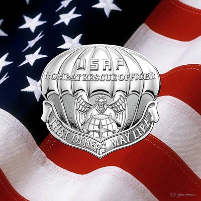 Digital Art - U. S.  Air Force Combat Rescue Officer - C R O Badge Over American Flag by Serge Averbukh