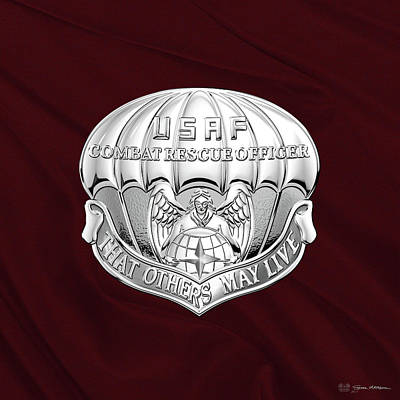 Digital Art - U. S.  Air Force Combat Rescue Officer - C R O Badge Over Maroon Felt by Serge Averbukh