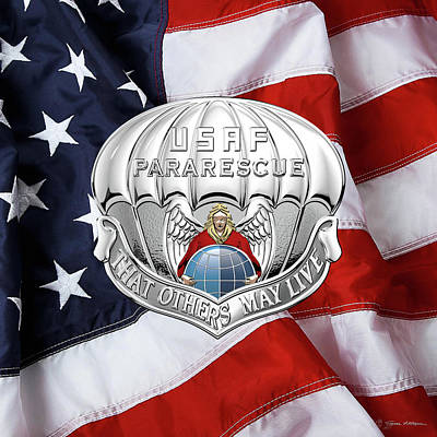 Digital Art - U. S.  Air Force Pararescuemen - P J Badge Over American Flag by Serge Averbukh