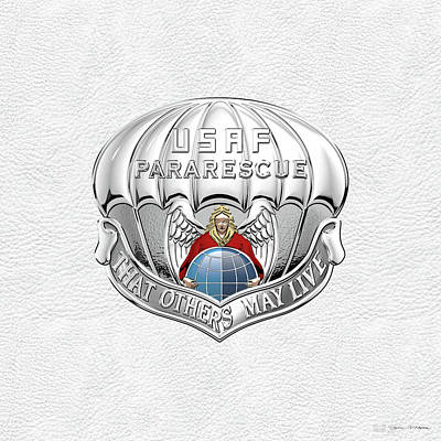Digital Art - U. S.  Air Force Pararescuemen - P J Badge Over White Leather by Serge Averbukh