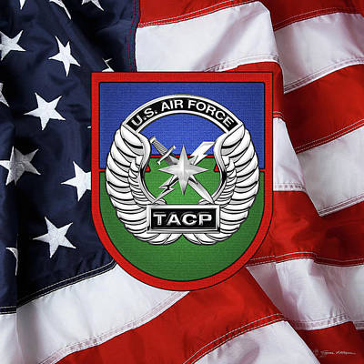 Art Print featuring the digital art U. S.  Air Force Tactical Air Control Party -  T A C P  Beret Flash With Crest Over American Flag by Serge Averbukh