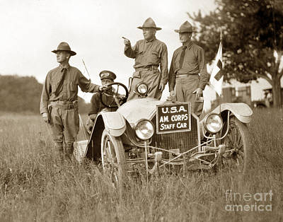 Photograph - U. S. Army  Ambulance Corps Wwi As Staff Cars Circa 1918 by California Views Mr Pat Hathaway Archives