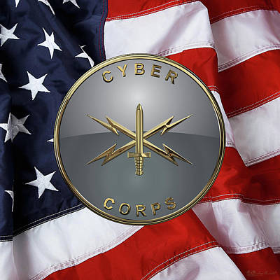 U. S.  Army Cyber Corps - Branch Plaque Over American Flag Art Print