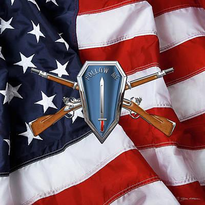 Digital Art - U. S. Army Infantry School Distinctive Unit Insignia Over American Flag  by Serge Averbukh