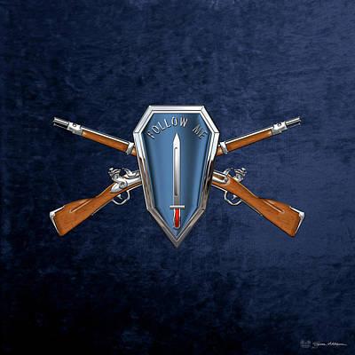 Digital Art - U. S. Army Infantry School Distinctive Unit Insignia Over Blue Velvet by Serge Averbukh