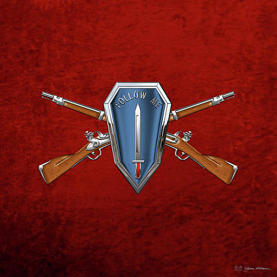Digital Art - U. S. Army Infantry School Distinctive Unit Insignia Over Red Velvet by Serge Averbukh