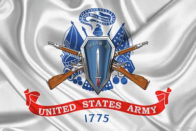 Digital Art - U. S. Army Infantry School Distinctive Unit Insignia Over U. S. Army Flag by Serge Averbukh