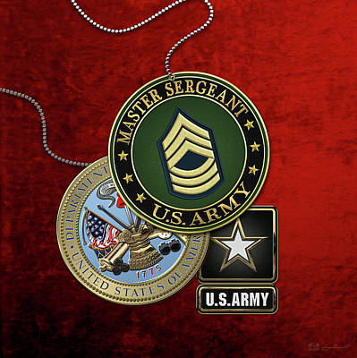 Digital Art - U. S. Army Master Sergeant   -  M S G  Rank Insignia With Army Seal And Logo Over Red Velvet by Serge Averbukh