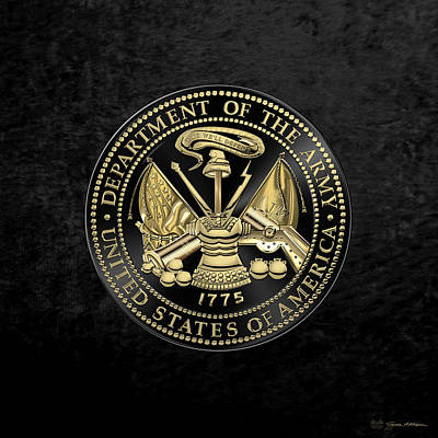 U.s Army Digital Art - U. S. Army Seal Black Edition Over Black Velvet by Serge Averbukh