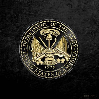 Digital Art - U. S. Army Seal Black Edition Over Black Velvet by Serge Averbukh