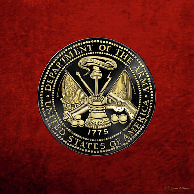 U.s Army Digital Art - U. S. Army Seal Black Edition Over Red Velvet by Serge Averbukh