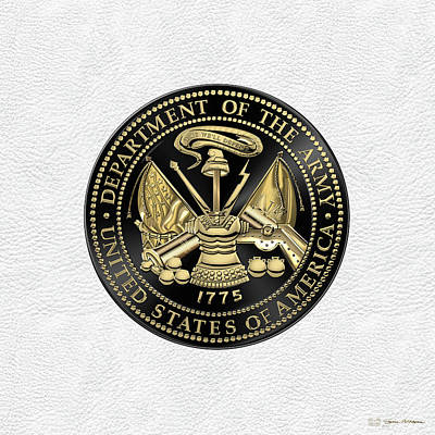 U.s Army Digital Art - U. S. Army Seal Black Edition Over White Leather by Serge Averbukh